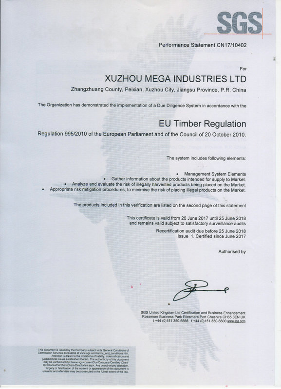 XUZHOU MEGA PLYWOOD CERTIFICATES AND TEST REPORTS