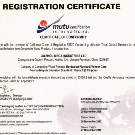 carb p2 certificate from xuzhou mega