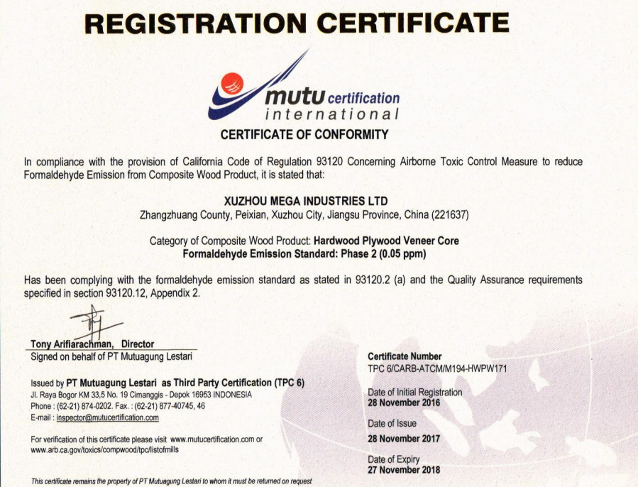 Carb P2 Certificate From Xuzhou Mega Xuzhou Mega Industries High